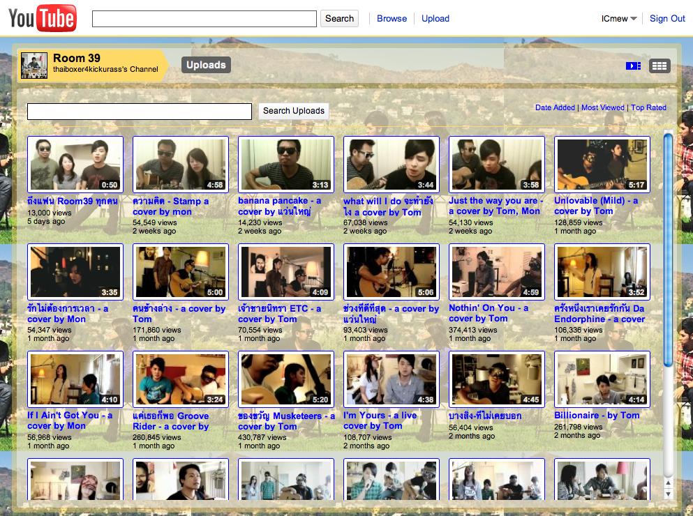 หน้า Youtube Channel ของ Room39